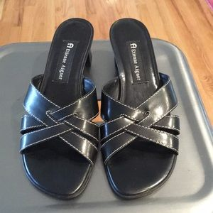 Etienne Aigner Black Leather Slide Heels